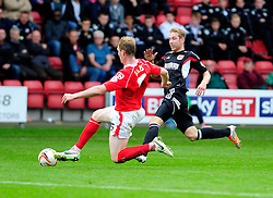 Bristol City's Scott Wagstaff is tackled by Crewe Alexandra's Mark Ellis - Photo mandatory by-line: Dougie Allward/JMP - Tel: Mobile: 07966 386802 19/10/2013 - SPORT - FOOTBALL - Alexandra Stadium - Crewe - Crewe V Bristol City - Sky Bet League One