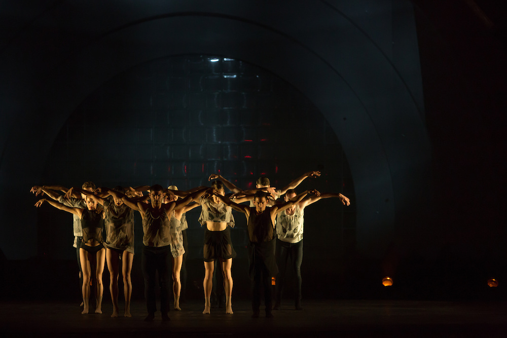 "Les Ballets Jazz de Montréal at the beginning of Wen Wei Wang's ""Night Box"", choreographed for Les Ballets Jazz de Montréal."