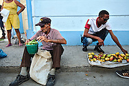 Selling goods in the middle of the street