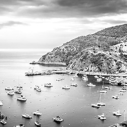 Catalina Island panoramic black and white photo with the Pacific Ocean and mountains. Catalina Island is a popular destination off the coast of Southern California in the United States.