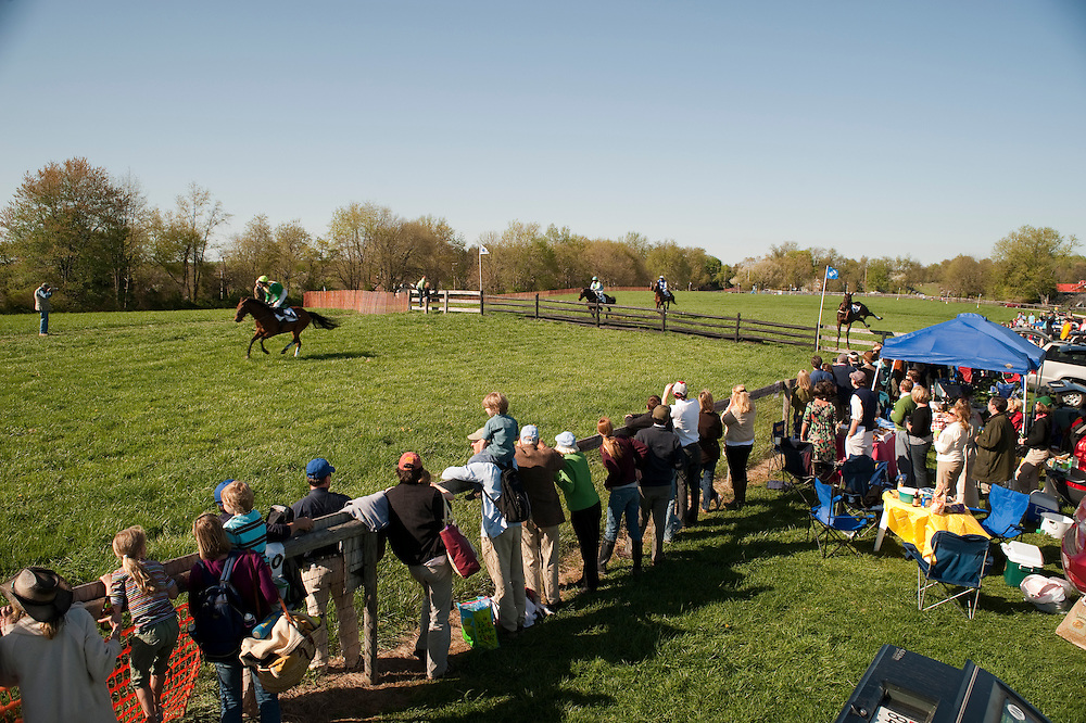 Horses jumping over fence  - Manor Races, Maryland