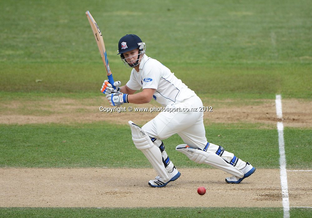 Auckland's Craig Cachopa batting during his century innings. Plunket Shield Cricket, Auckland Aces v Wellington Firebirds at Eden Park Outer Oval. Auckland on Wednesday 28 November 2012. Photo: Andrew Cornaga/Photosport.co.nz