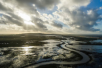 Aerial view of the Soetendaals Vlei and Heuningnes River at dusk, Agulhas Plain, Western Cape, South Africa