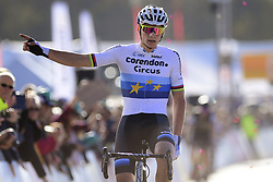 October 20, 2018 - Boom, France - VAN DER POEL Mathieu (NED) of CORENDON - CIRCUS celebrates winning the 2nd leg of the men elite and U23 Telenet Superprestige cyclocross race (Credit Image: © Panoramic via ZUMA Press)