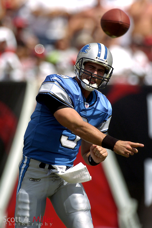 Detroit Lions quarterback Joey Harrington (3) during the Lions game against the Tampa Bay Buccaneers at Raymond James Stadium on Oct. 2, 2005 in Tampa, Florida. ..         ©2005 Scott A. Miller..©2005 Scott A. Miller