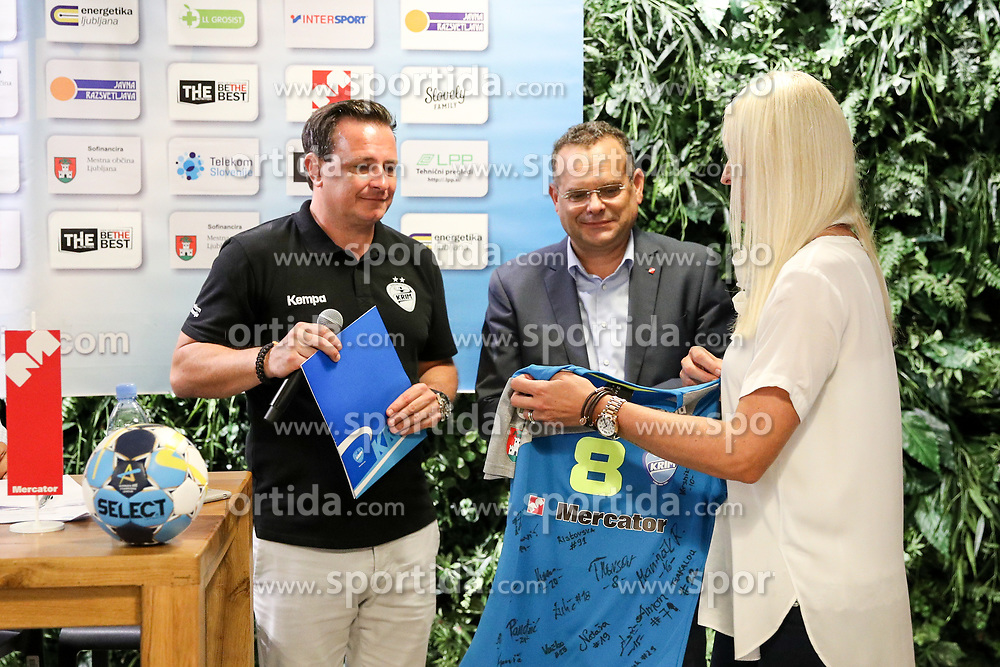 Rado Mulec, Iztok Verdnik and Deja Doler at Press Conference of RK Krim Mercator at start of the season 2018/19, on August 16, 2018 in Mercator Siska, Ljubljana, Slovenia. Photo by Matic Klansek Velej / Sportida