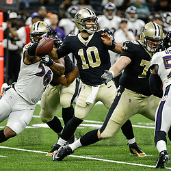 Aug 31, 2017; New Orleans, LA, USA; New Orleans Saints quarterback Chase Daniel (10) throws against the Baltimore Ravens  during the second quarter of a preseason game at the Mercedes-Benz Superdome. Mandatory Credit: Derick E. Hingle-USA TODAY Sports