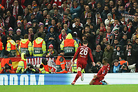 Football - 2019 / 2020 UEFA Champions League - Round of Sixteen, Second Leg: Liverpool (0) vs. Atletico Madrid (1)<br /> <br /> Liverpool's Georginio Wijnaldum celebrates scoring his sides first goal , at Anfield.<br /> <br /> <br /> COLORSPORT/TERRY DONNELLY