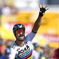 July 8, 2018 - Moscou, France - Slovakian rider PETER SAGAN of of the Bora - Hansgrohe team celebrates after sprinting to to victory on Stage Two of the Tour de France 2018. (Credit Image: © Panoramic via ZUMA Press)