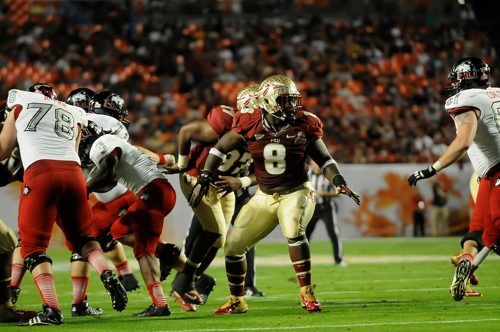 January 1, 2013: Timmy Jernigan #8 of Florida State in action during the NCAA football game between the Northern Illinois Huskies and the Florida State Seminoles at the 2013 Orange Bowl in Miami Gardens, Florida. The Seminoles defeated the Huskies 31-10.