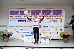 Cecille Ultrup Ludwig (DEN) of Team BMS BIRN celebrates winning the best climber's dotted jersey after the 76,1 km first stage of the 2016 Ladies' Tour of Norway women's road cycling race on August 12, 2016 between Halden and Fredrikstad, Norway. (Photo by Balint Hamvas/Velofocus)