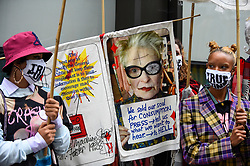 © Licensed to London News Pictures. 07/09/2020. LONDON, UK.  Supporters of Wikileaks founder Julian Assange at a protest outside the Old Bailey as his extradition hearing, which is expected to last for the next three or four weeks, resumes after it was postponed due to the coronavirus pandemic lockdown.  Julian Assange is wanted in the US for allegedly conspiring with army intelligence analyst Chelsea Manning to expose military secrets in 2010.  Photo credit: Stephen Chung/LNP