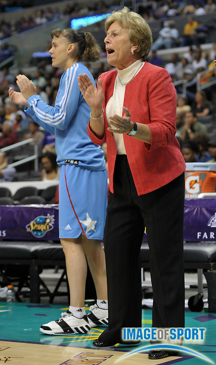 May 30, 2010; Los Angeles, CA, USA; Atlanta Dream coach Marynell Meadors during the game against the Los Angeles Sparks at the Staples Center. The Dream defeated the Sparks 101-82.
