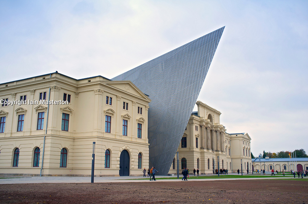 The newly reopened  Military Historical Museum of the Bundeswehr (MHM) in Dresden Saxony Germany Architect Daniel Libeskind