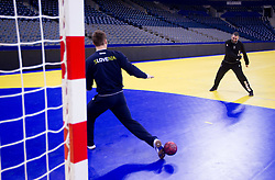 Luka Zvizej of Slovenia vs Boris Denic, head coach of Slovenia during practice session of Slovenia national team 1 day before handball match against Macedonia for 5th place at 10th EHF European Handball Championship Serbia 2012, on January 26, 2012 in Beogradska Arena, Belgrade, Serbia.  (Photo By Vid Ponikvar / Sportida.com)