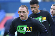 Kick it Out, no to racism AAFC Wimbledon midfielder Jake Reeves (8) and AFC Wimbledon defender Chris Robertson (34) prior the EFL Sky Bet League 1 match between Oldham Athletic and AFC Wimbledon at Boundary Park, Oldham, England on 12 November 2016. Photo by Stuart Butcher.