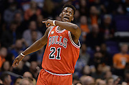Nov 18, 2015; Phoenix, AZ, USA; Chicago Bulls guard Jimmy Butler (21) reacts on the court in the NBA game against the Phoenix Suns at Talking Stick Resort Arena. The Bulls won 103-97. Mandatory Credit: Jennifer Stewart-USA TODAY Sports