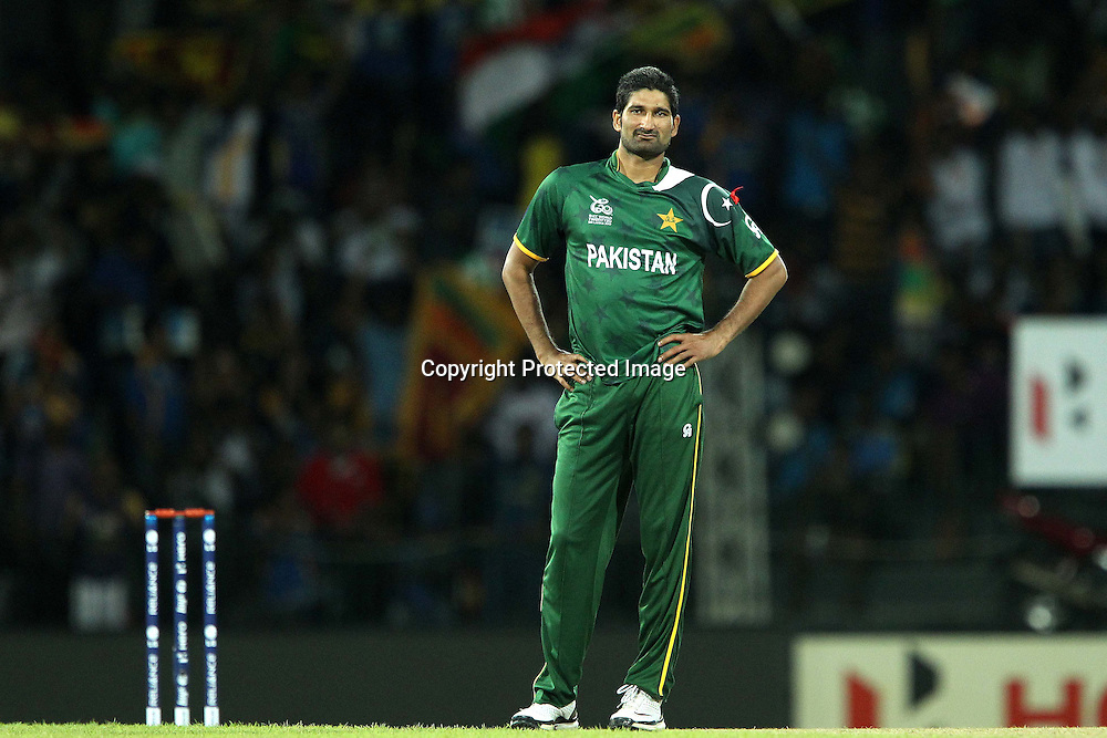 Sohail Tanvir reacts after bowling during the ICC World Twenty20 semi final match between Sri Lanka and Pakistan held at the Premadasa Stadium in Colombo, Sri Lanka on the 4th October 2012<br /> <br /> Photo by Ron Gaunt/SPORTZPICS