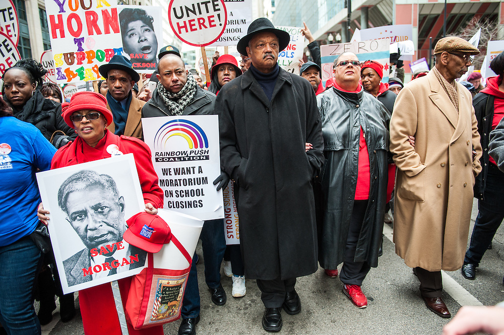 Rev. Jesse Jackson Sr. (center) and Chicago Teachers Union President Karen Lewis (center right) march with students, parents, and teachers in downtown Chicago in opposition of the closing of 53 Chicago public schools.