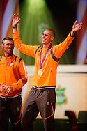 LONDEN - Windsurfer Dorian van Rijsselberghe wordt in het Holland Heineken House in Londen gehuldigd voor zijn gouden medaille op de Olympische Spelen.