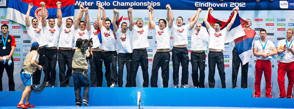 Eindhoven , Netherlands (NED) 16 - 29 January 2012.LEN European  Water Polo Championships 2012.Day 14 - Men.SRB (White) - MNE (Blue)..SRB.1 SORO Slobodan.2 SAPONJIC Aleksa.3 GOCIC Zivko.4 UDOVICIC Vanja.5 CUK Milos.6 PIJETLOVIC Dusko.7 NIKIC Slobodan.8 ALEKSIC Milan.9 RADJEN Nikola.10 FILIPOVIC Filip.11 PRLAINOVIC Andrija.12 MITROVIC Stefan.13 MITROVIC Branislav..Photo G.Scala/Deepbluemedia.eu