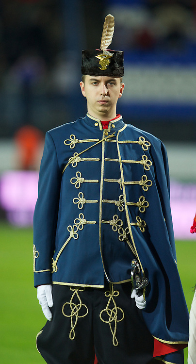 OSIJEK, CROATIA - Tuesday, October 16, 2012: Traditional Croatian dress before the Brazil 2014 FIFA World Cup Qualifying Group A match between Croatia and Wales at the Stadion Gradski Vrt. (Pic by David Rawcliffe/Propaganda)
