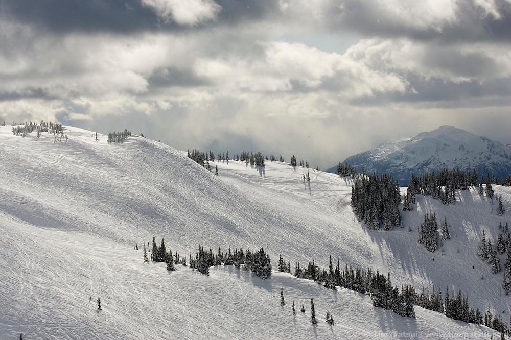 Skiers at Whistler-Blackcomb ski resort in British Columbia, Canada.