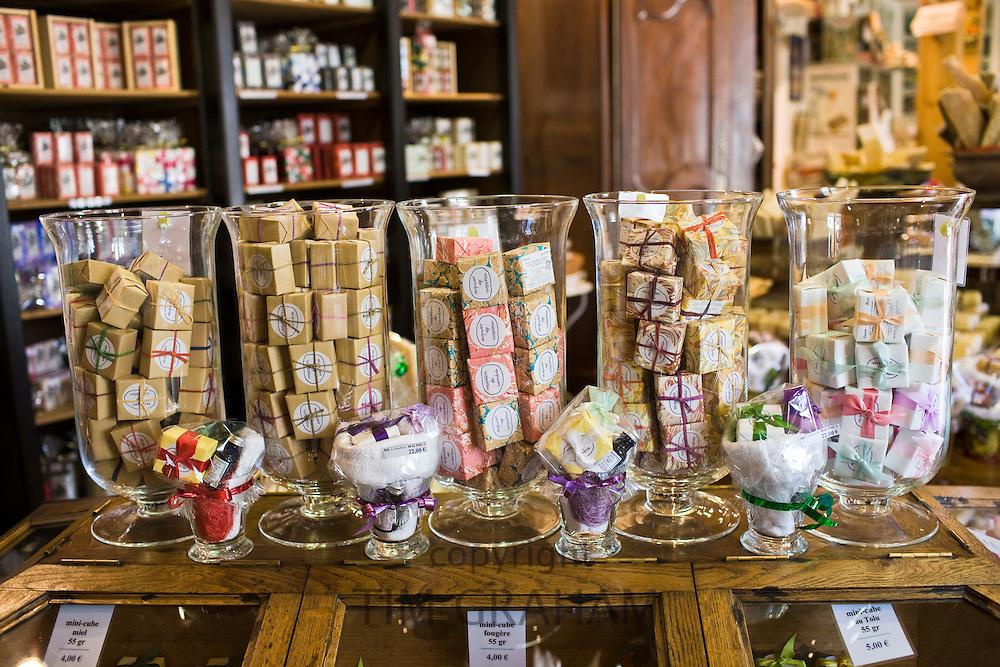 Artisan soaps on sale at Martin de Candre specialist savon shop Mestre at Fontevraud L'Abbaye, Loire Valley, France