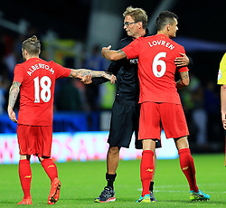 Liverpool manager Jurgen Klopp shakes hands with Alberto Moreno and Dejan Lovren - Mandatory by-line: Matt McNulty/JMP - 20/07/2016 - FOOTBALL - John Smith's Stadium - Huddersfield, England - Huddersfield Town v Liverpool - Pre-season friendly
