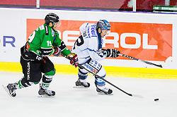14.10.2014, Hala Tivoli, Ljubljana, SLO, EBEL, HDD Telemach Olimpija Ljubljana vs EHC Liwest Linz, 11. Runde, in picture Gal Koren (HDD Telemach Olimpija, #19) vs Chad Rau (EHC Liwest Linz, #12) during the Erste Bank Icehockey League 11. Round between HDD Telemach Olimpija Ljubljana and EHC Liwest Linz at the Hala Tivoli, Ljubljana, Slovenia on 2014/10/14. Photo by Matic Klansek Velej / Sportida