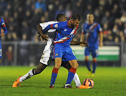 Doncaster Rovers' Richard Wellens is challenged by Aaron Brown of Weston Super Mare - Photo mandatory by-line: Dougie Allward/JMP - Mobile: 07966 386802 - 18/11/2014 - SPORT - Football - Weston-super-Mare - Woodspring Stadium - Weston Super Mare v Doncaster Rovers - FA Cup