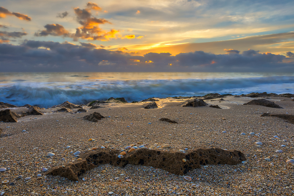 South Florida sunset photography image from Ocean Reef Park in Riviera Beach, FL of Palm Beach County. This Florida beach on Singer Island photography picture is available as museum quality photography prints, canvas prints, acrylic prints or metal prints. Fine art prints may be framed and matted to the individual liking and interior design wall art decoration needs:<br />