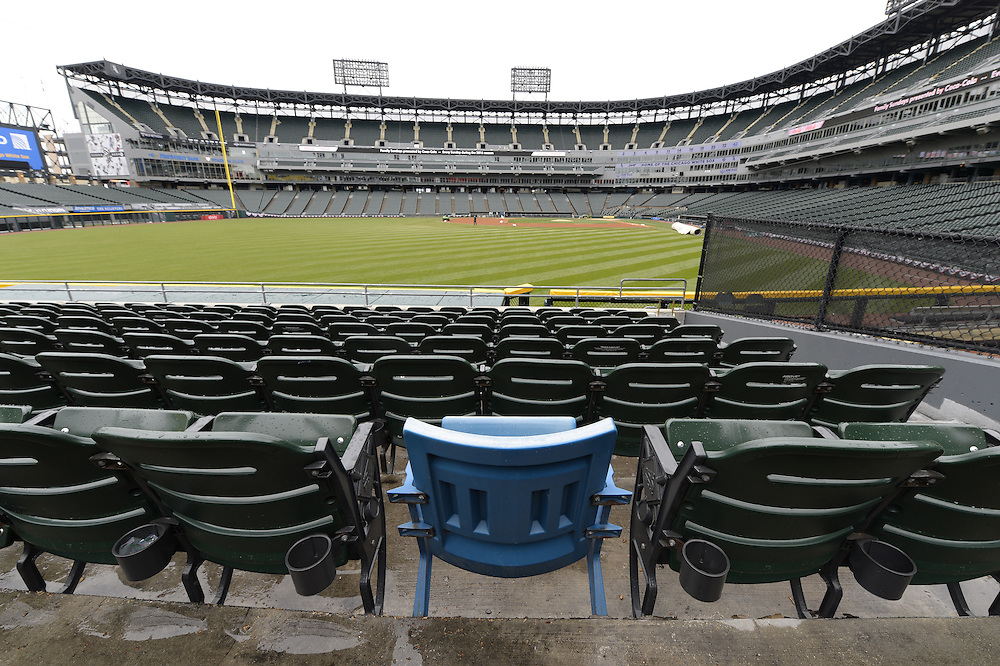 "CHICAGO, IL- A general view of the ""blue seat"", which marks the location of where Paul Konerko's 2005 Game 2 World Series grand slam home run landed, at U.S. Cellular Field in Chicago, Illinois."