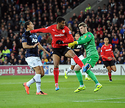 Cardiff City Forward, Fraizer Campbell (ENG) is beaten to the ball by Man Utd Goalkeeper David De Gea (ESP) - Photo mandatory by-line: Joseph Meredith/JMP - Tel: Mobile: 07966 386802 - 24/11/2013 - SPORT - FOOTBALL - Cardiff City Stadium - Cardiff City v Manchester United - Barclays Premier League.