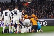 Kenan Bajric of Slovan Bratislava is injured during the Europa League match between Wolverhampton Wanderers and Slovan Bratislava at Molineux, Wolverhampton, England on 7 November 2019.