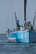 Telefonica waiting for amateur crew to arrive during the Volvo Ocean Race 2011-2012 Miami stopover.