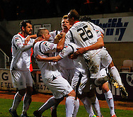 Luton Town players celebrate the equaliser by Mark Cullen of Luton Town (3rd right) during the Skrill Conference Premier match at the Abbey Stadium, Cambridge<br /> Picture by David Horn/Focus Images Ltd +44 7545 970036<br /> 11/03/2014