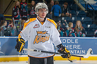KELOWNA, CANADA - OCTOBER 25: Jesse Gabrielle #12 of Brandon Wheat Kings skates during warm up at the Kelowna Rockets on October 25, 2014 at Prospera Place in Kelowna, British Columbia, Canada.  (Photo by Marissa Baecker/Getty Images)  *** Local Caption *** Jesse Gabrielle;