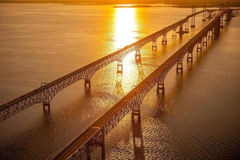 Aerial of Bay Bridge at sunset over Chesapeake Bay in Maryland