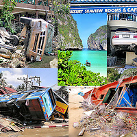 Phuket, Thailand Tsunami Aftermath at Patong Beach Composite of Five Photos <br />