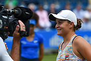 Ashleigh Barty of Australia interviewed on TV after winning her semi-final (3-6) (6-4) (6-3)during the Aegon Classic Birmingham at Edgbaston Priory Club, Edgbaston, United Kingdom on 24 June 2017. Photo by Martin Cole.