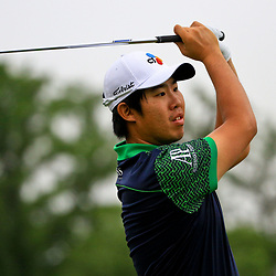 May 2, 2016; Avondale, LA, USA; Seung-Yul An tees off from the 10th hole during the continuation of the third round of the 2016 Zurich Classic of New Orleans at TPC Louisiana. The tournament has been shortened to 54 holes due to weather delays throughout the week. Mandatory Credit: Derick E. Hingle-USA TODAY Sports