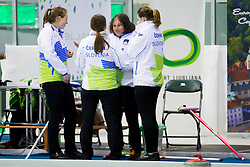 Team Slovenia during curling match between National teams of Slovenia and Lithuania in 6th Round of European Curling Championship on April 29, 2016 in Ledena dvorana Zalog, Ljubljana, Slovenia. Photo By Urban Urbanc / Sportida