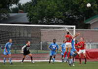 Ohio State forward Paige Maxwell (10) goes up for a ball played in on a corner kick as OSU takes on the University of North Carolina in the second half of an NCAA women's college soccer game in Columbus, Ohio on Sunday, Sept. 4, 2011, at Jesse Owens Memorial Stadium.