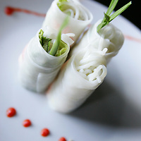 Crystal Chatham/The Desert Sun<br /> <br /> 09/11/2007 -- Traditional Vietnamese spring rolls served at Bamboo Cove in Palm Desert include prawn, thin slices of lean pork, fresh herbs, and vegetables. The restaurant opened in August.