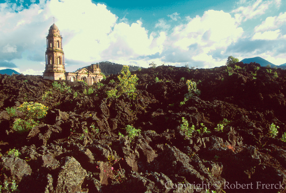 MEXICO, MICHOACAN, LANDSCAPE Paricutin Volcano; church buried in lava