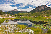 Reflectons of 12,968 ft. Engineer Mountain in Scout Lake.  San Juan Mountains, Colorado, USA.