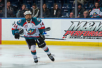 KELOWNA, CANADA - JANUARY 30: Trevor Wong #14 of the Kelowna Rockets skates against the Seattle Thunderbirds  on January 30, 2019 at Prospera Place in Kelowna, British Columbia, Canada.  (Photo by Marissa Baecker/Shoot the Breeze)