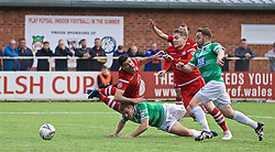 RHOSYMEDRE, WALES - Sunday, May 5, 2019: Connah's Quay Nomads's Michael Wilde and John Disney challenge for the ball with The New Saints' Jack Bodenham during the FAW JD Welsh Cup Final between Connah's Quay Nomads FC and The New Saints FC at The Rock. (Pic by David Rawcliffe/Propaganda)