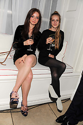 Left to right, LARA SKEET and OLYMPIA CAMPBELL at a reception to present the new Cartier Tank Watch Collection held at The Orangery, Kensington Palace Gardens, London W8 on 19th April 2012.